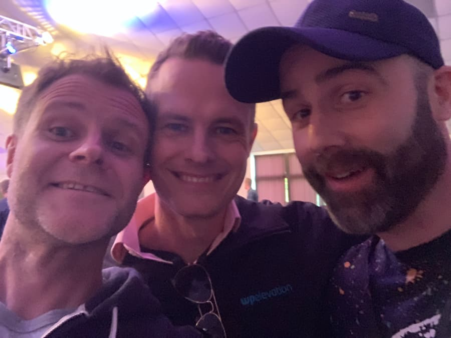 Dave in a selfie with Troy Dean and Lee Jackson
