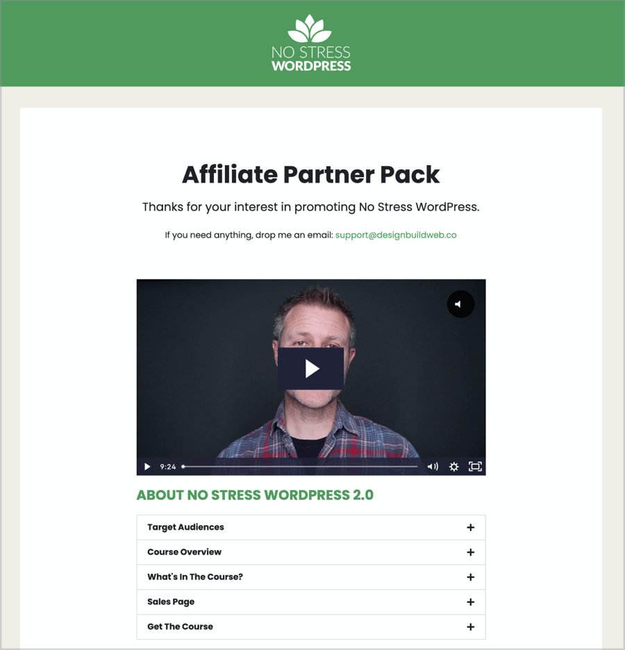 Screenshot of top of affiliate partner pack page