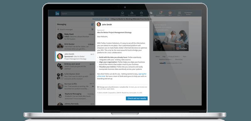 LinkedIn sponsored inmail example