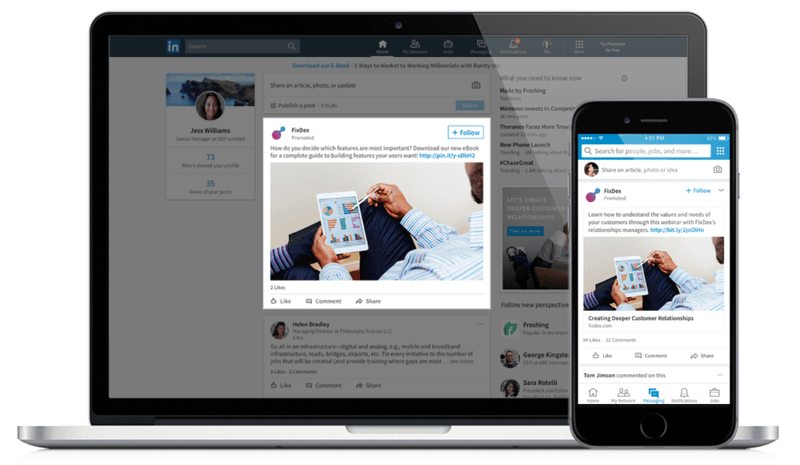 LinkedIn sponsored content example