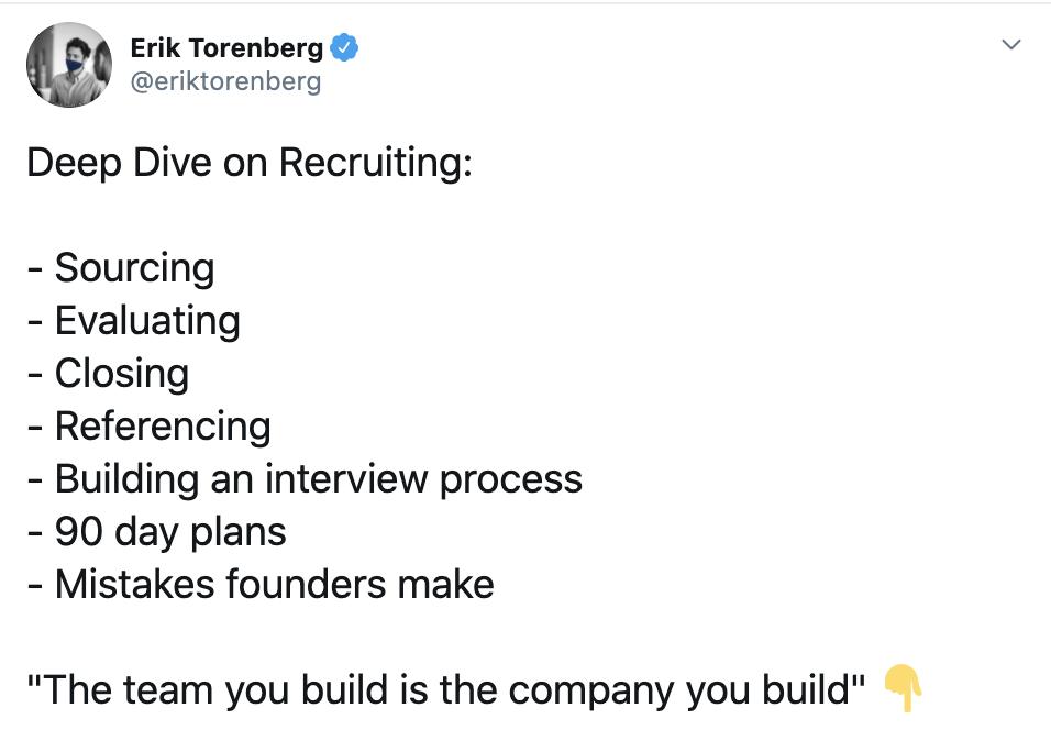 Erik Torenberg Deep Dive on Recruiting