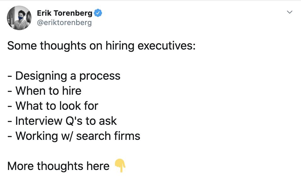 Erik Torenberg on hiring executives