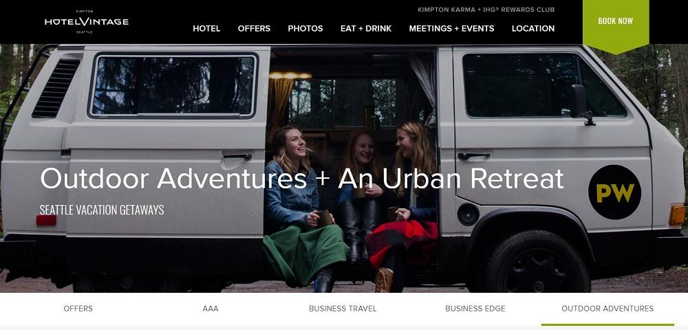 Campers in PacWesty van in partnership with Kimpton Hotel Vintage