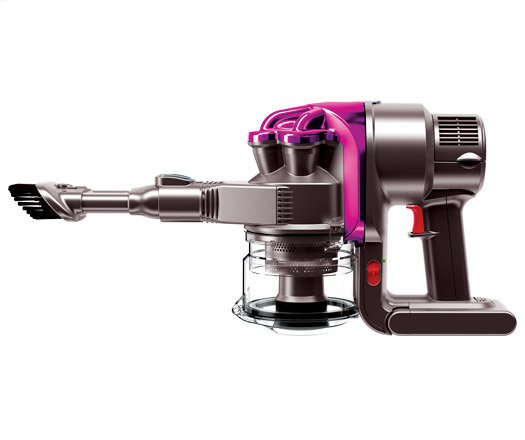 Shows the Dyson Dc16 vacuum designed in partnership with Issey Miyake