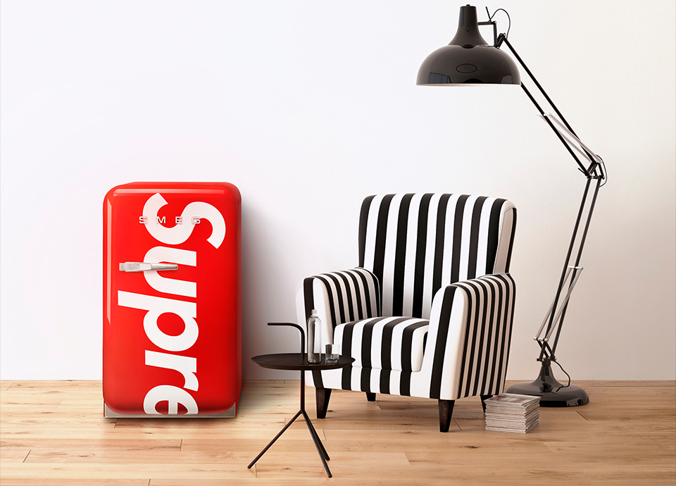 A setting that includes the Smeg mini-fridge co-branded by Supreme