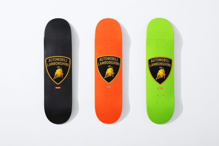 Supreme skateboard deck with Automobili Lamborghini logo