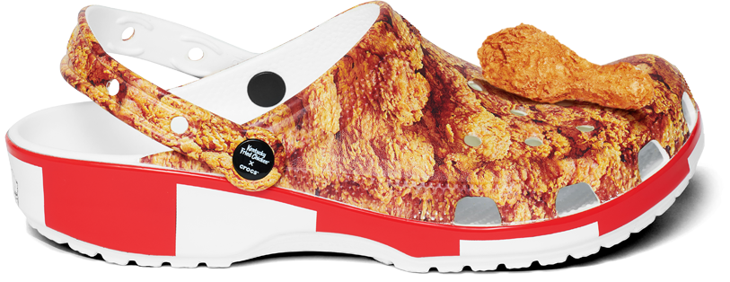 Croc shoe with KFC chicken images and branding on it