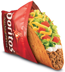 Taco Bell Taco in a Doritos pack advertising their collaboration