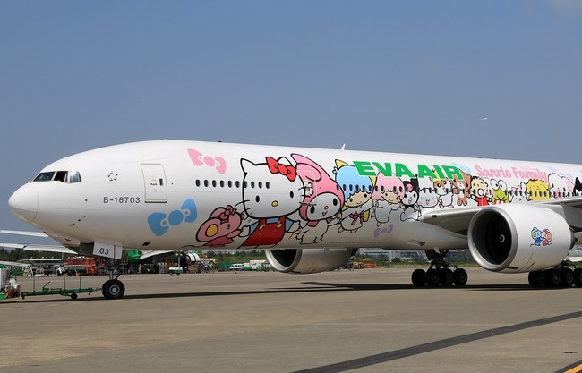 The Eva Air x Hello Kitty Jet parked at the airport