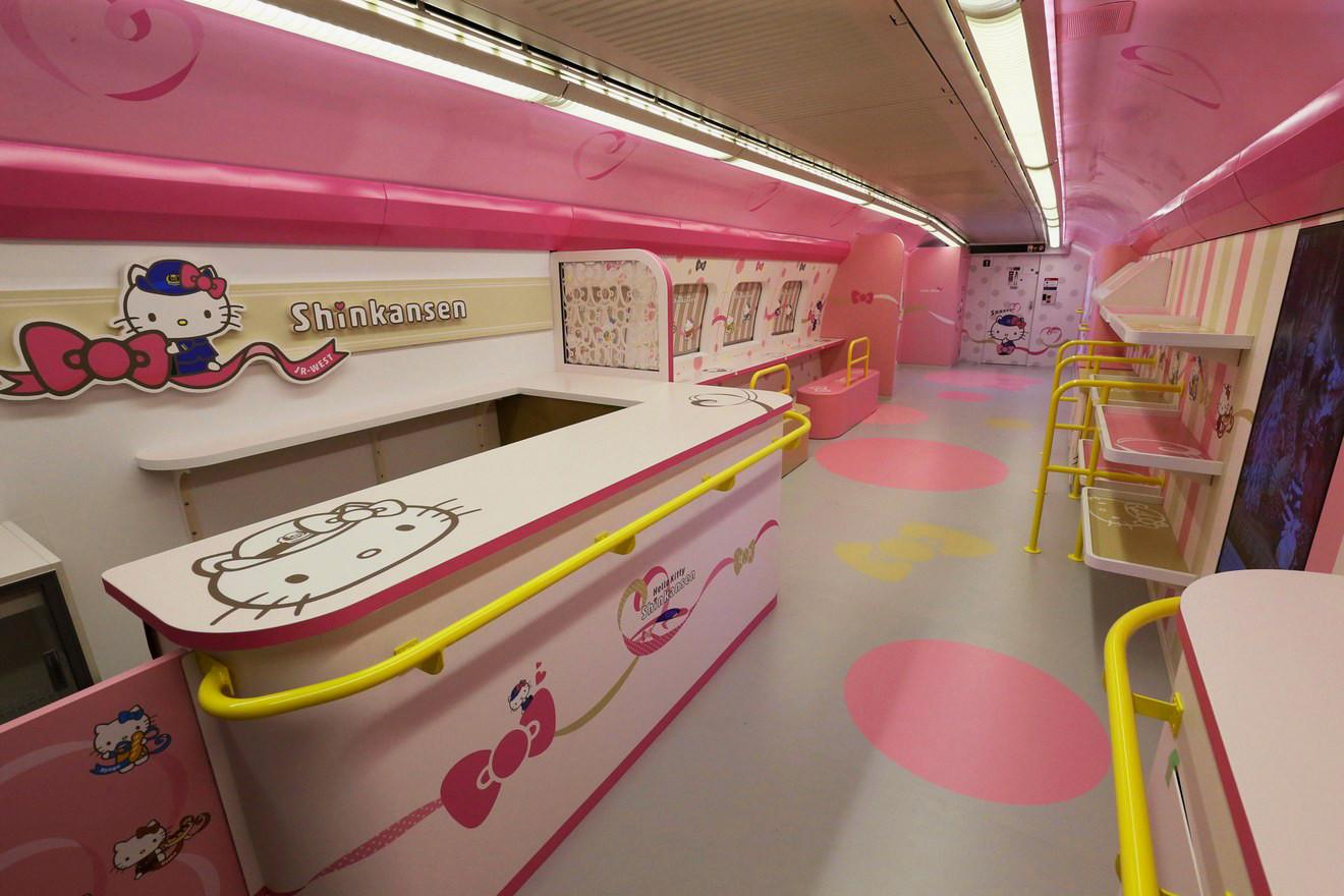 Hello Kitty Shinkansen interior full decorated in Hello Kitty style