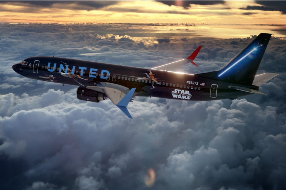 United airlines Boeing 737 Star Wars themed plane partnership