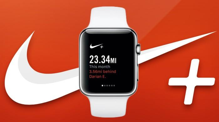 White apple watch on red background with Nike swoosh