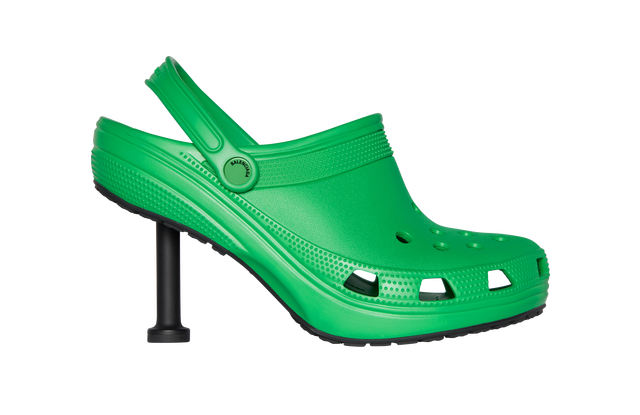 Lime green Balenciaga x Croc shoe with high heel