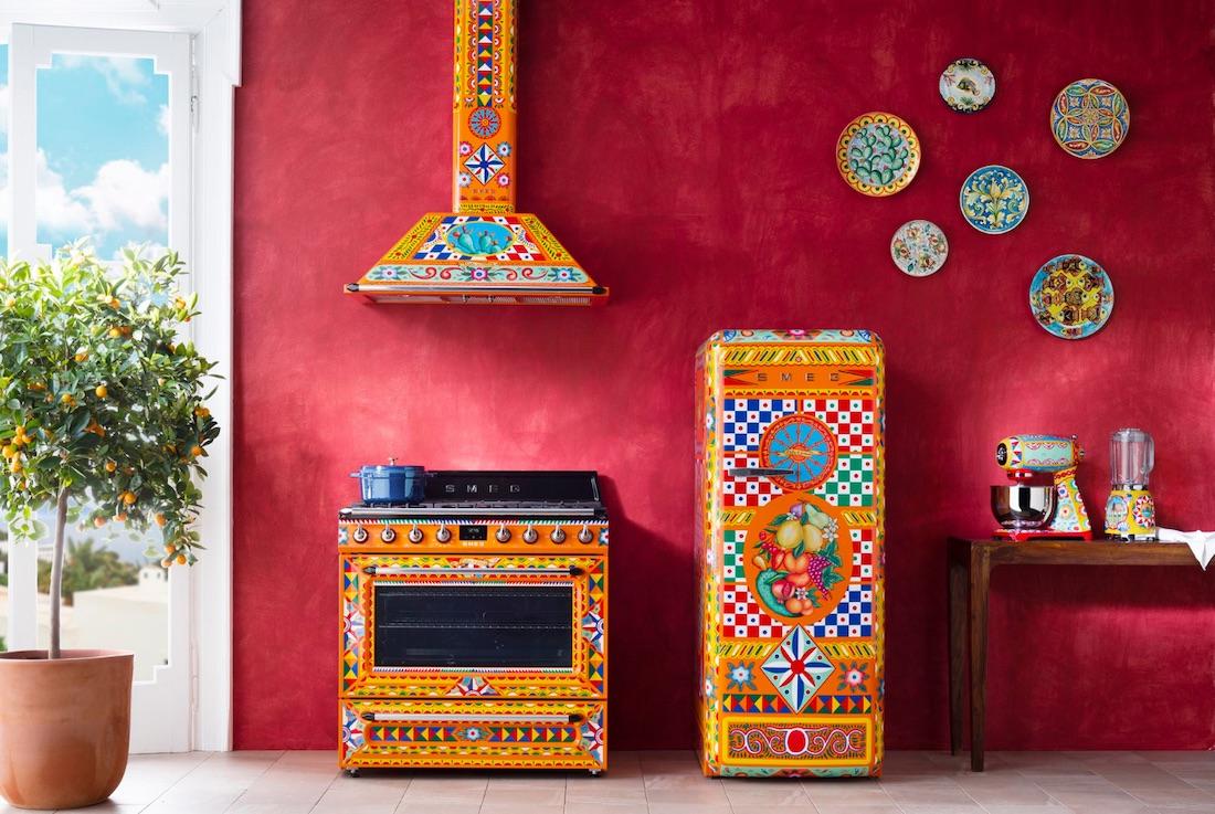 Smeg x Dolce & Gabbana collaboration Devina Cucina.  Free standing fridge, cooker and range hood