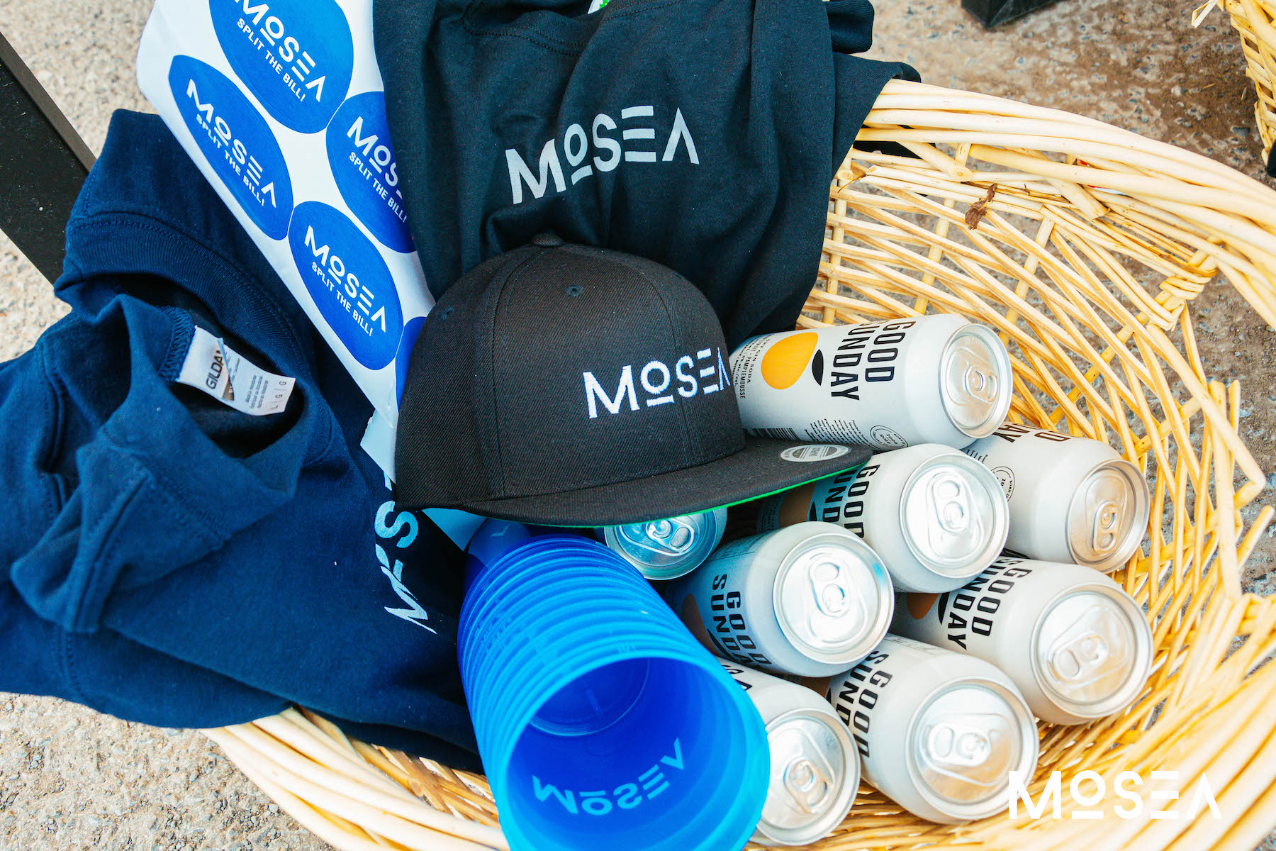 Mosea swag and Good Sunday cans in a basket