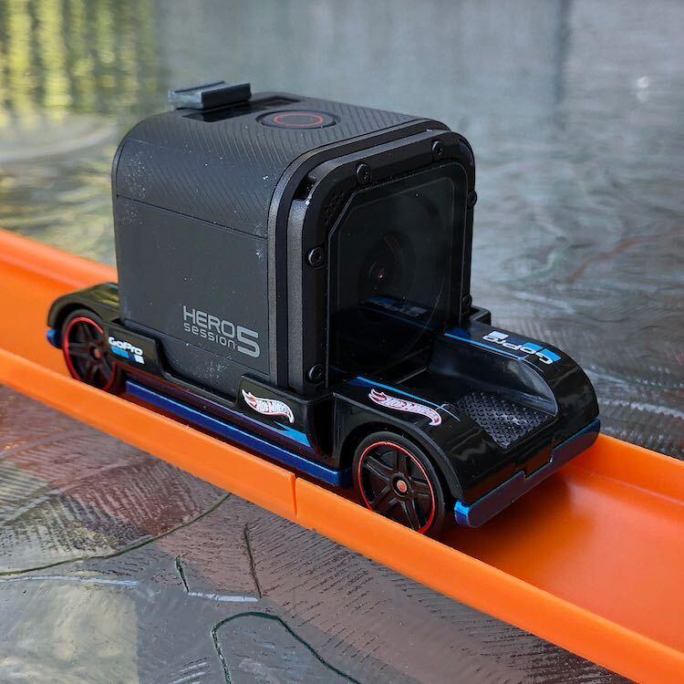 GoPro Hero 5 on Hot Wheels car sitting on track