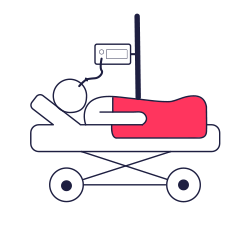 An icon of a ventilated patient used to represent the specialised care that our volunteer doctors are able to give in the pre-hospital setting.
