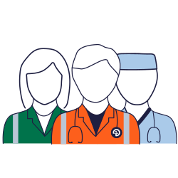 An icon of a paramedic, a Bravo Medic volunteer doctor and a surgeon used to represent the chain of care that Bravo Medic volunteers are part of.