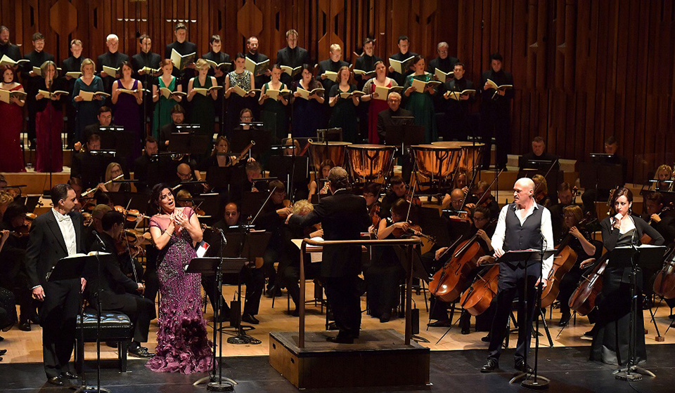 Lidia Vinyes Curtis on stage during Barbican Hall conducted by Josep Pons