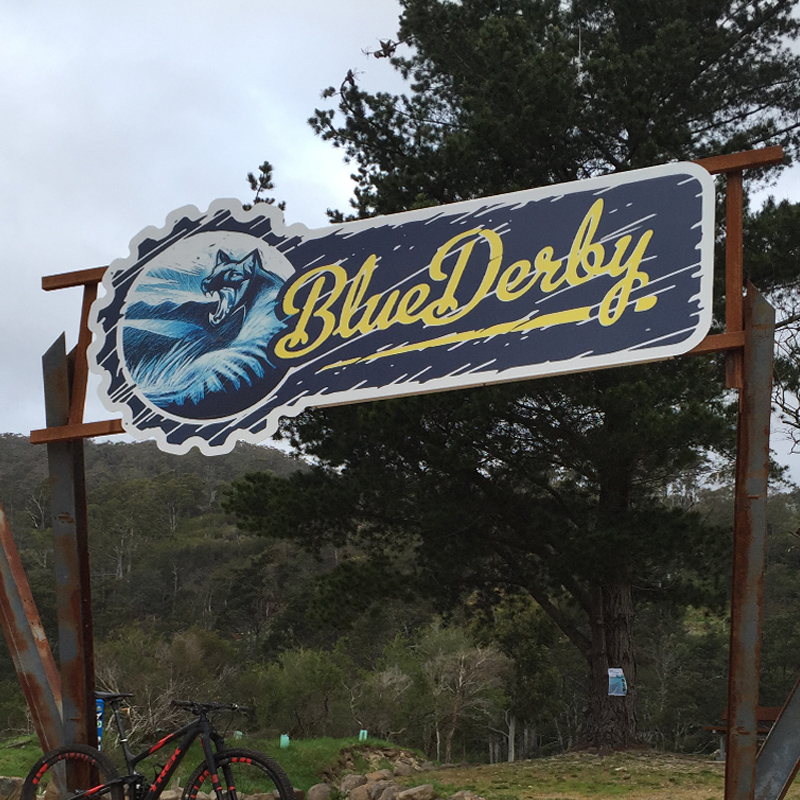 Blue Derby aluminium sign