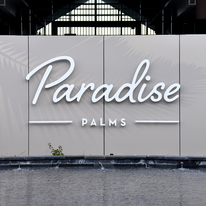 Paradise Palms acrylic sign