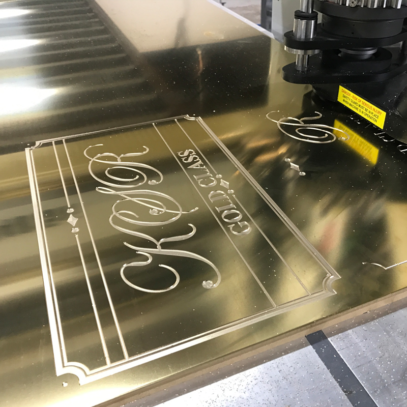 CNC engraving gold plate