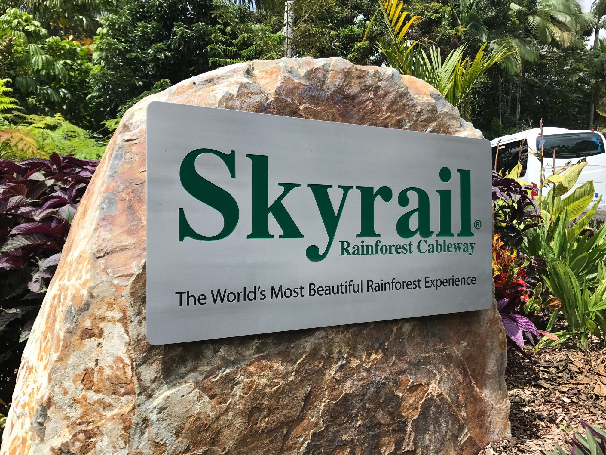 Skyrail aluminium sign