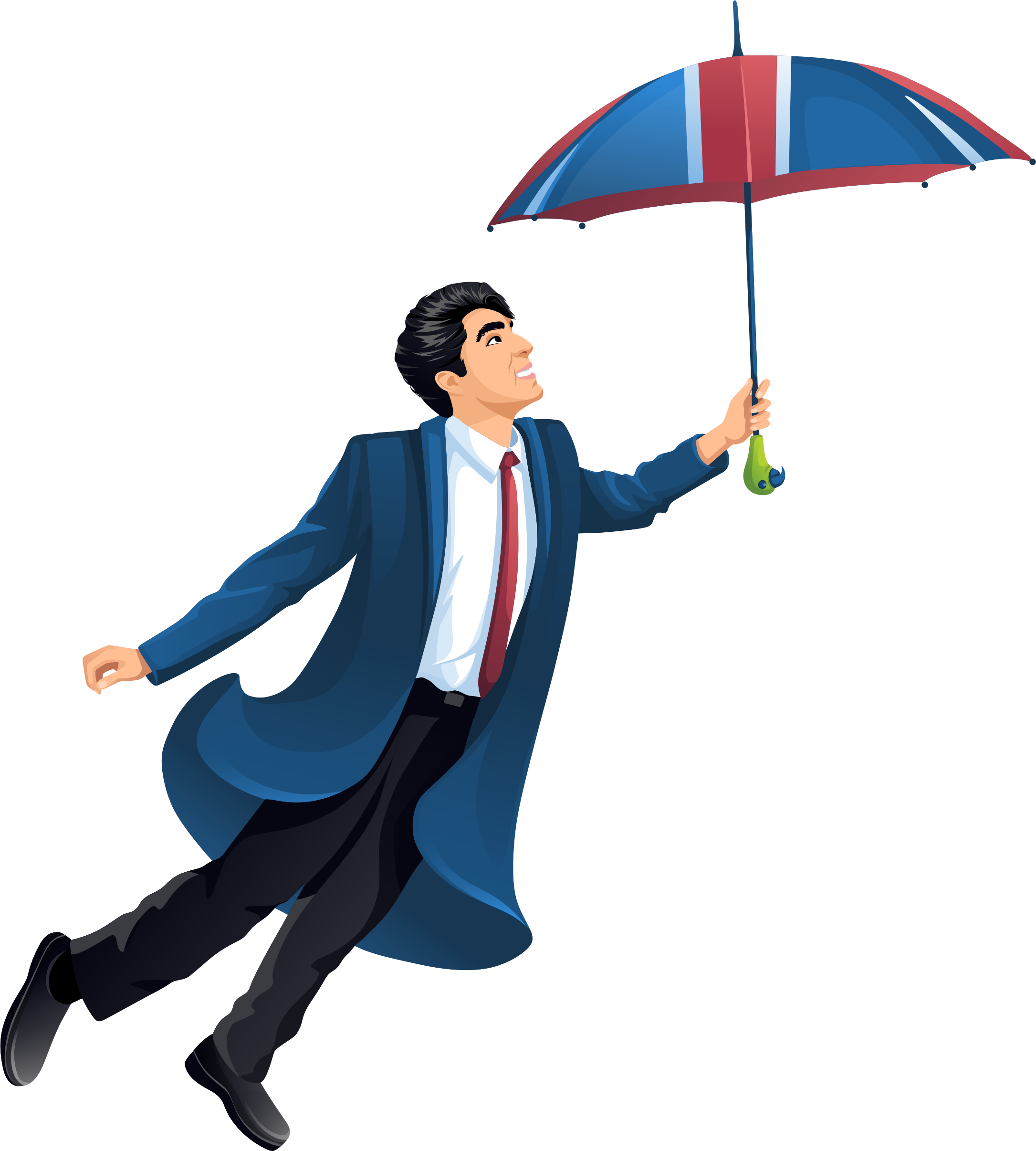 Adrian flying with an umbrella.