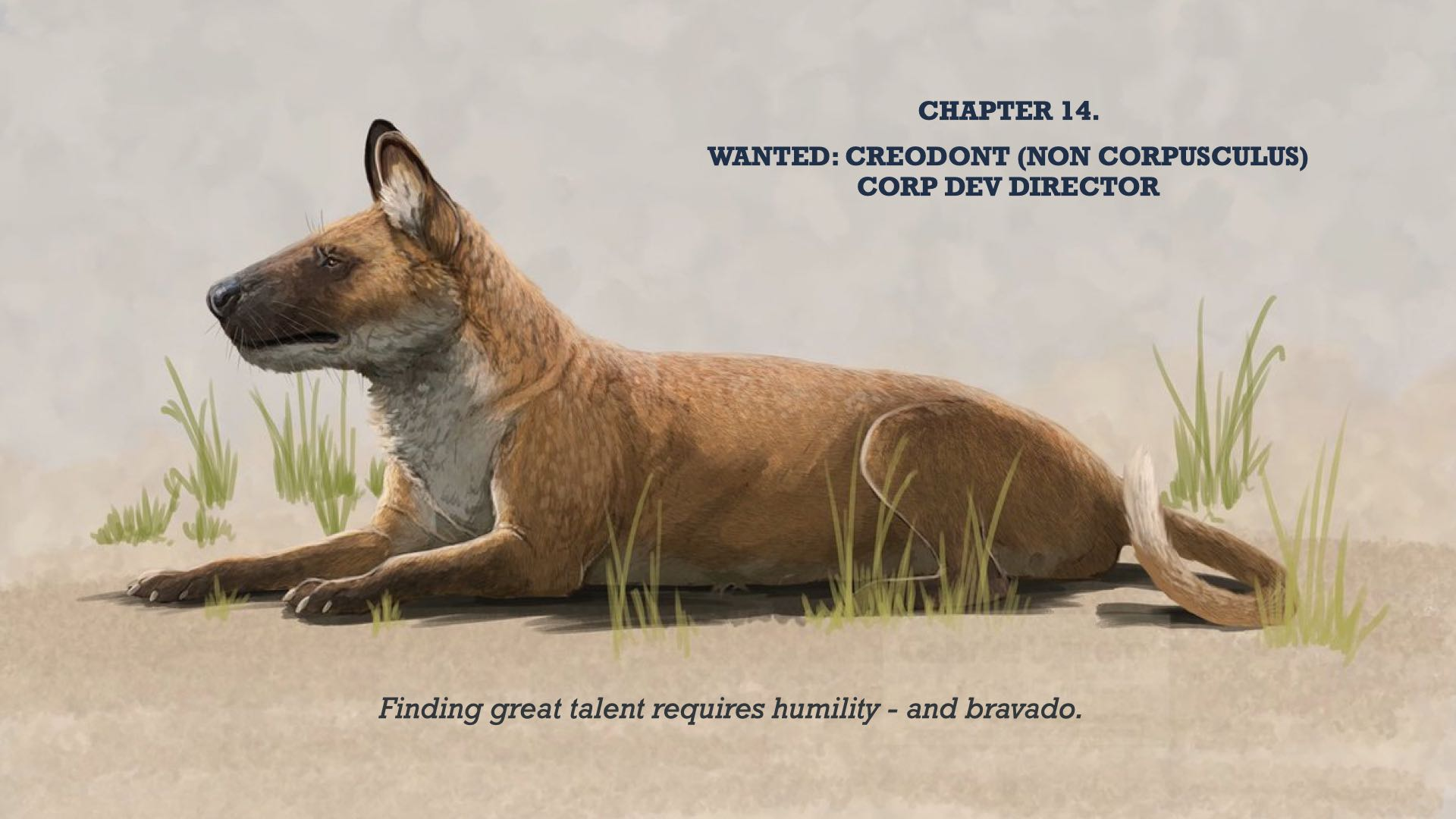 Wanted: Creodont (non Corpusculus) Corp Dev Director