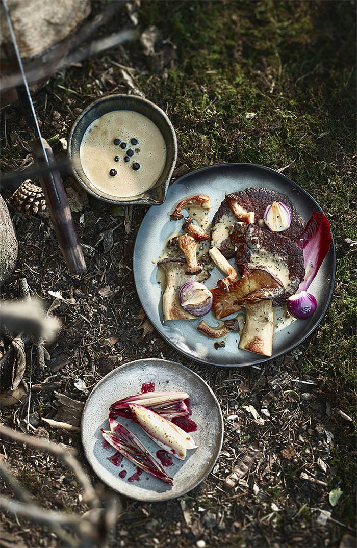 Venison steak with grilled chicoree and a juniper sauce main dish Food editorial shooting forest ingredients studio Julia Ewers food styling Philipp Burkart Photographer Hamburg