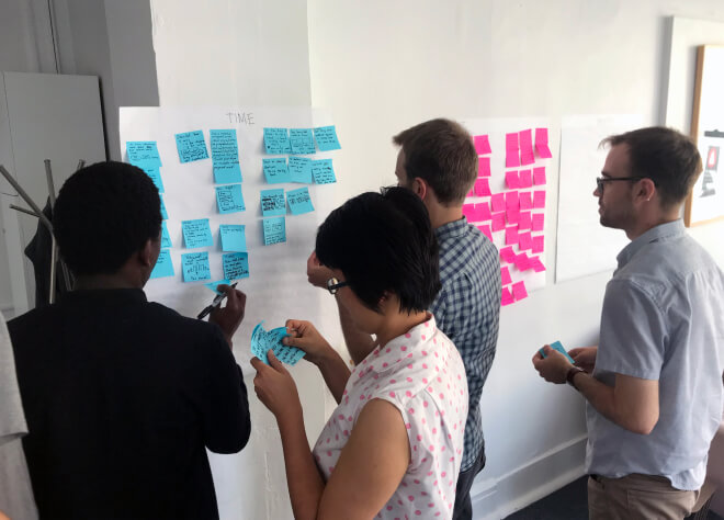 The Meal Hero team collaborating together with post-its at a whiteboard