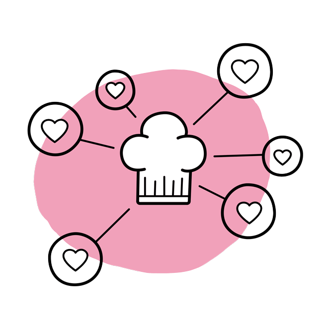 A chef's hat with hearts surrounding it