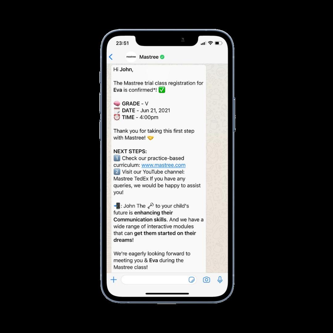 WhatsApp Conversation Edtech Chatbot