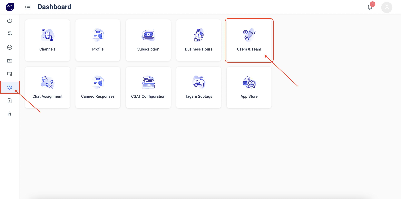 Konverse AI Dashboard - Settings - Users & Team