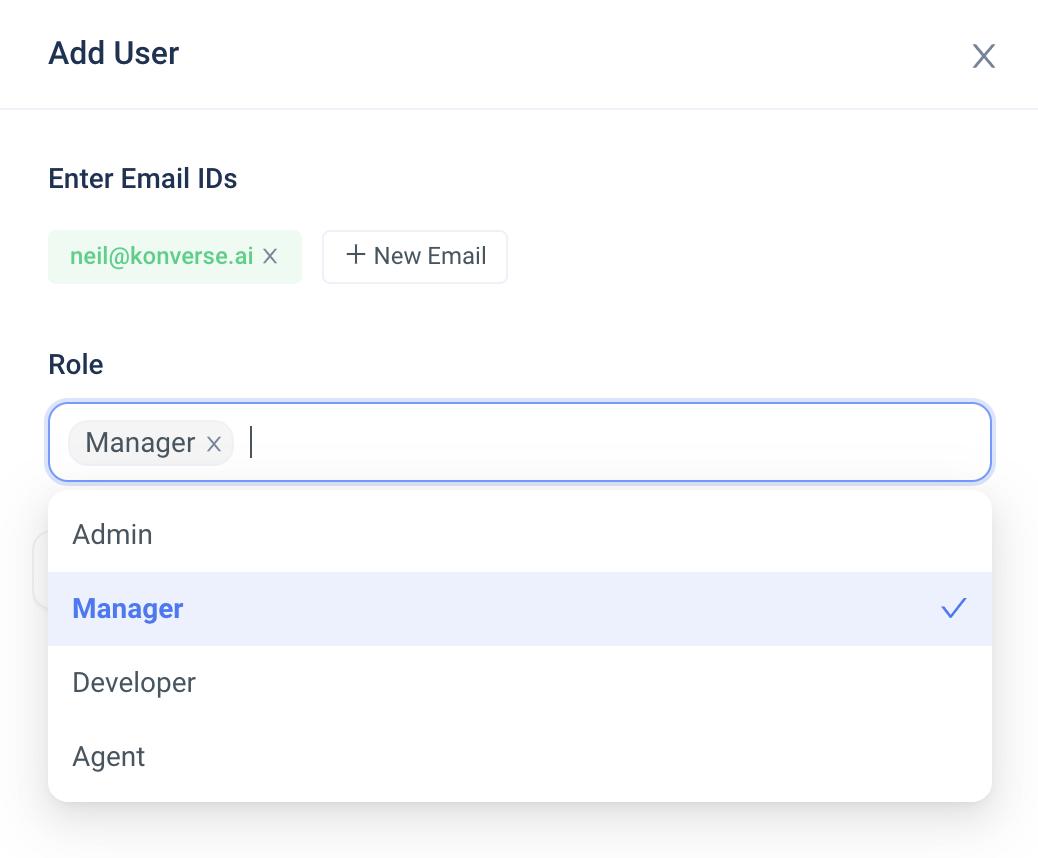 Konverse AI Dashboard - Users & Team - User Role