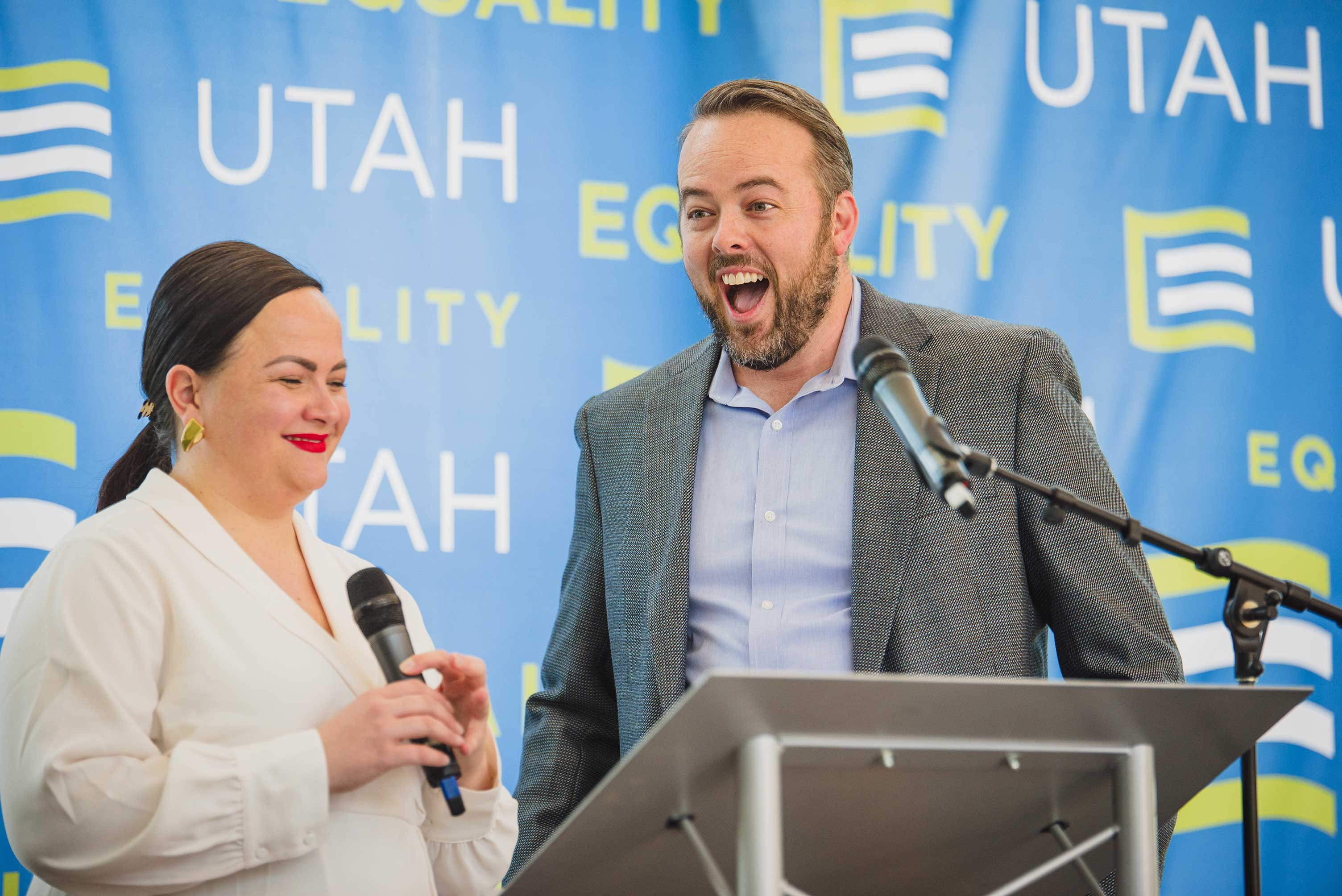 Former PAC Board members Whitney Norton and Weston Clark speaking at the 2018 PAC Brunch