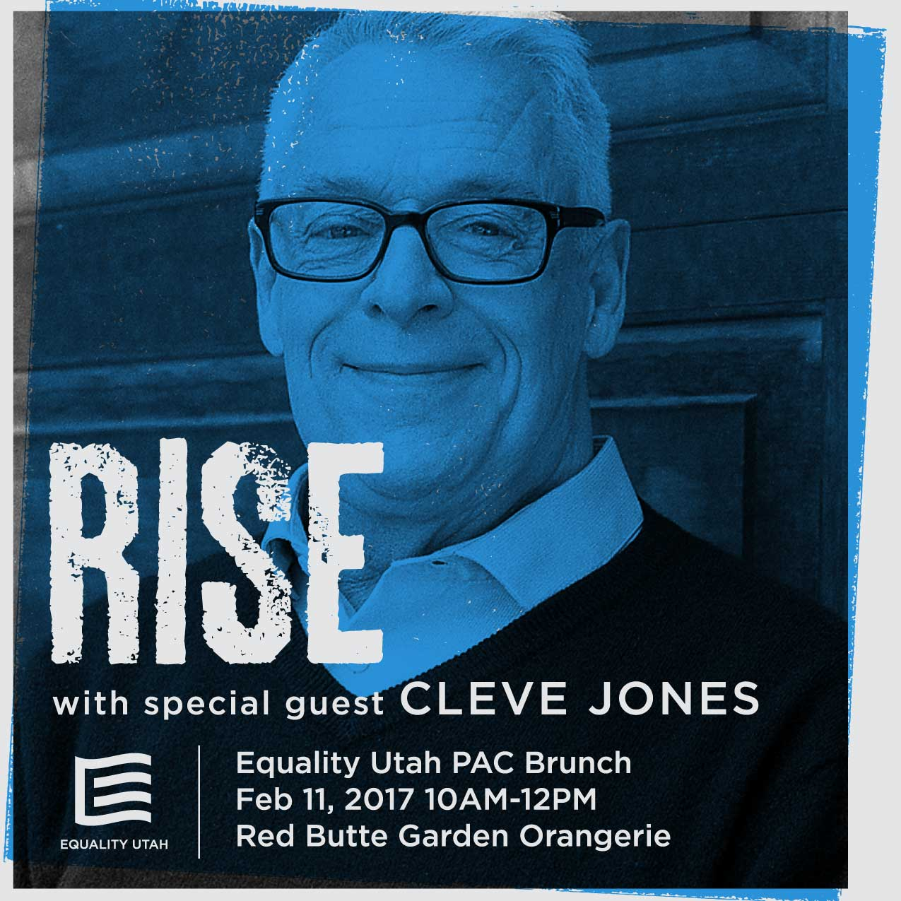 Graphic for 2017 PAC Brunch, featuring Cleve Jones