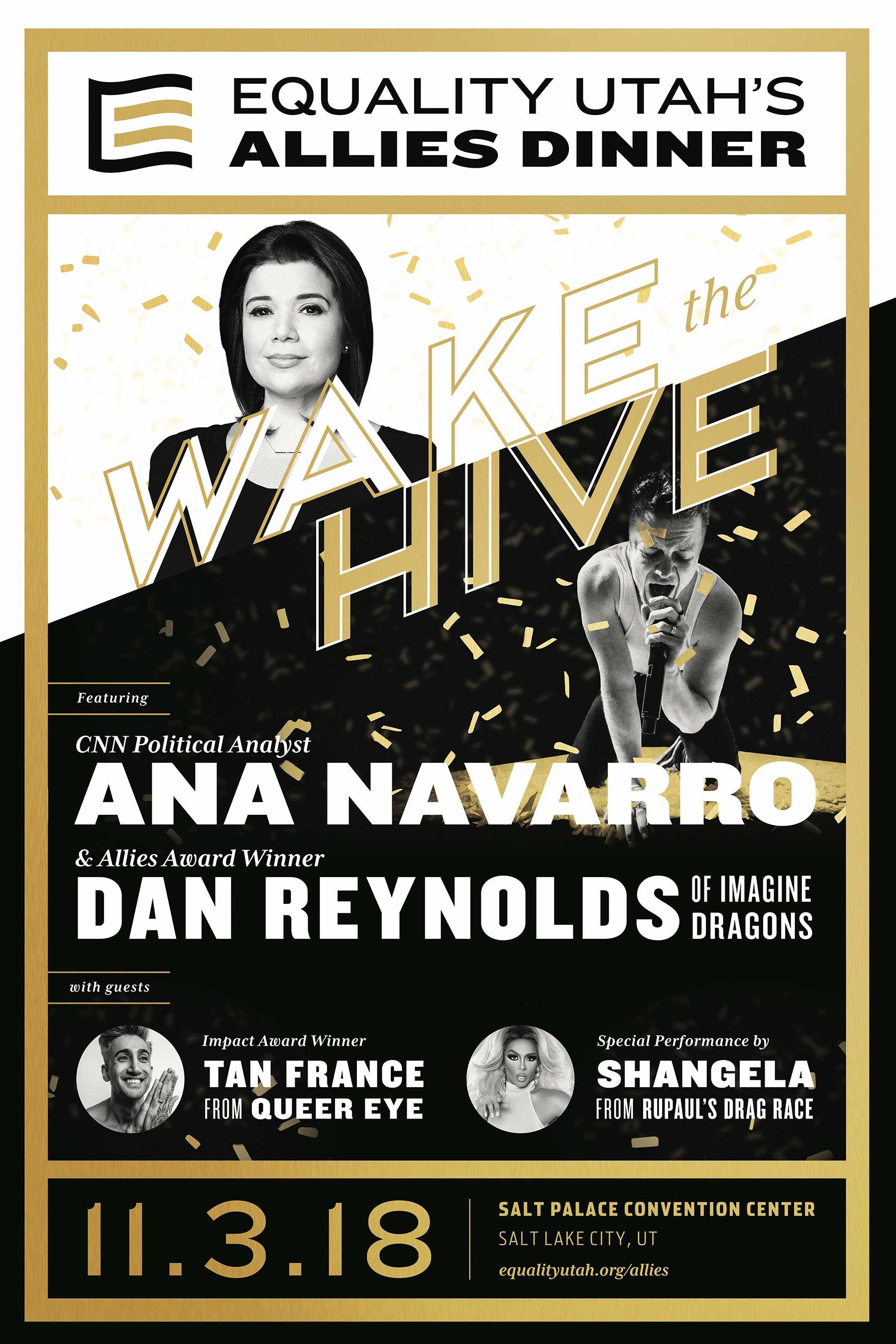 2018 Allies Dinner featuring Dan Reynolds, Ana Navarro, Tan France, and Shangela poster