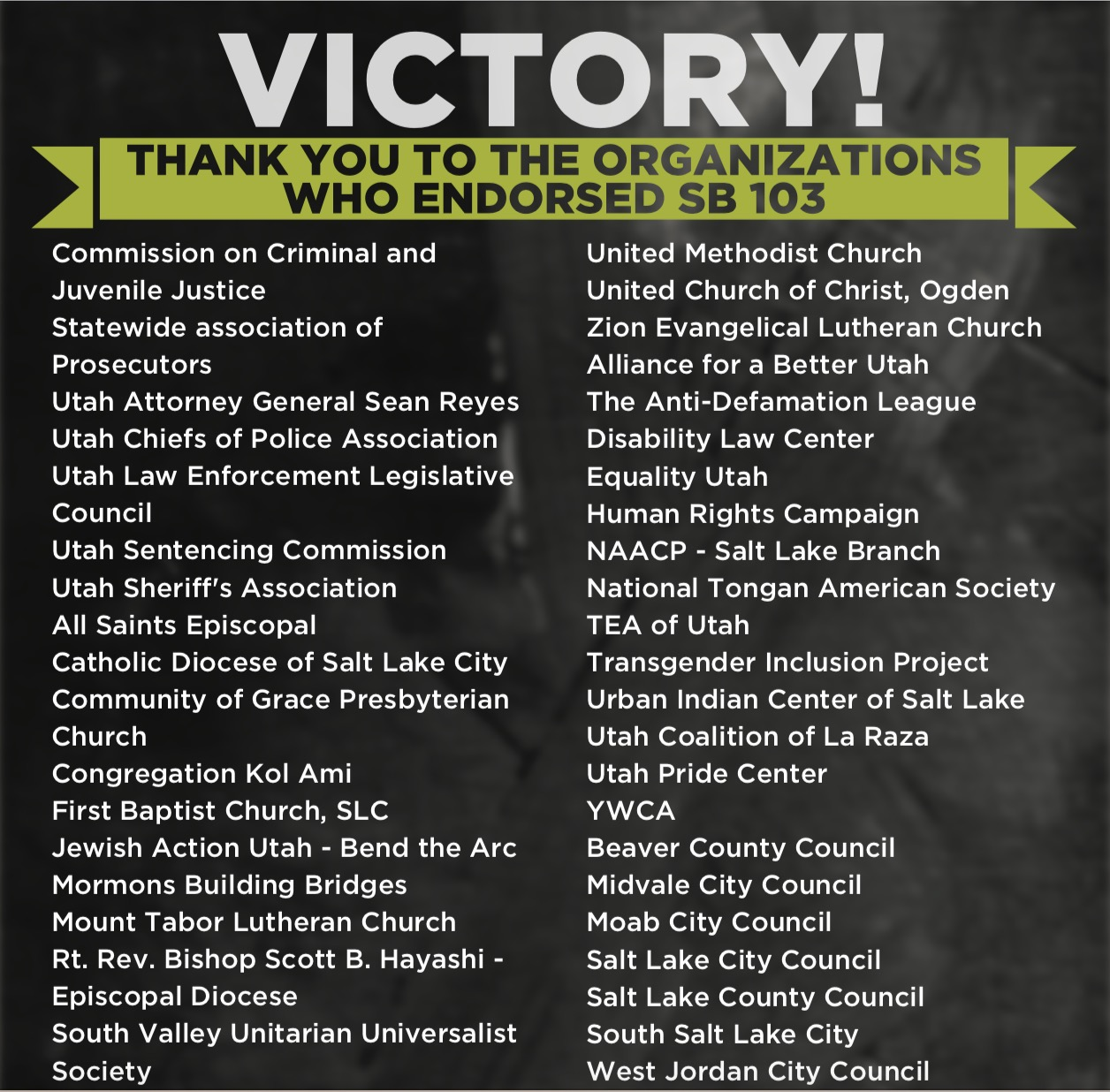 Victory graphic featuring all the organizations signing onto the call for banning conversion therapy in Utah for minors
