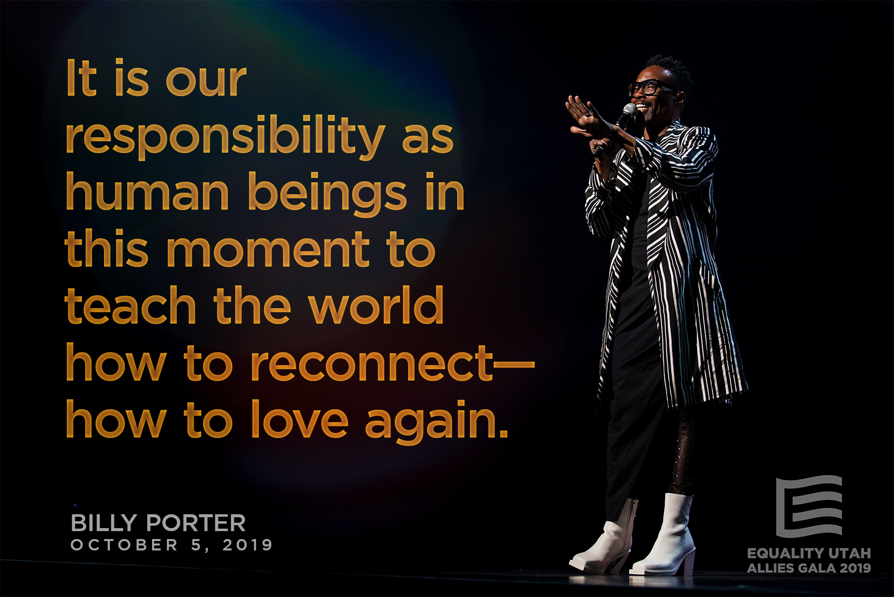 Quote graphic of Billy Porter, speaking during the 2019 Allies Gala