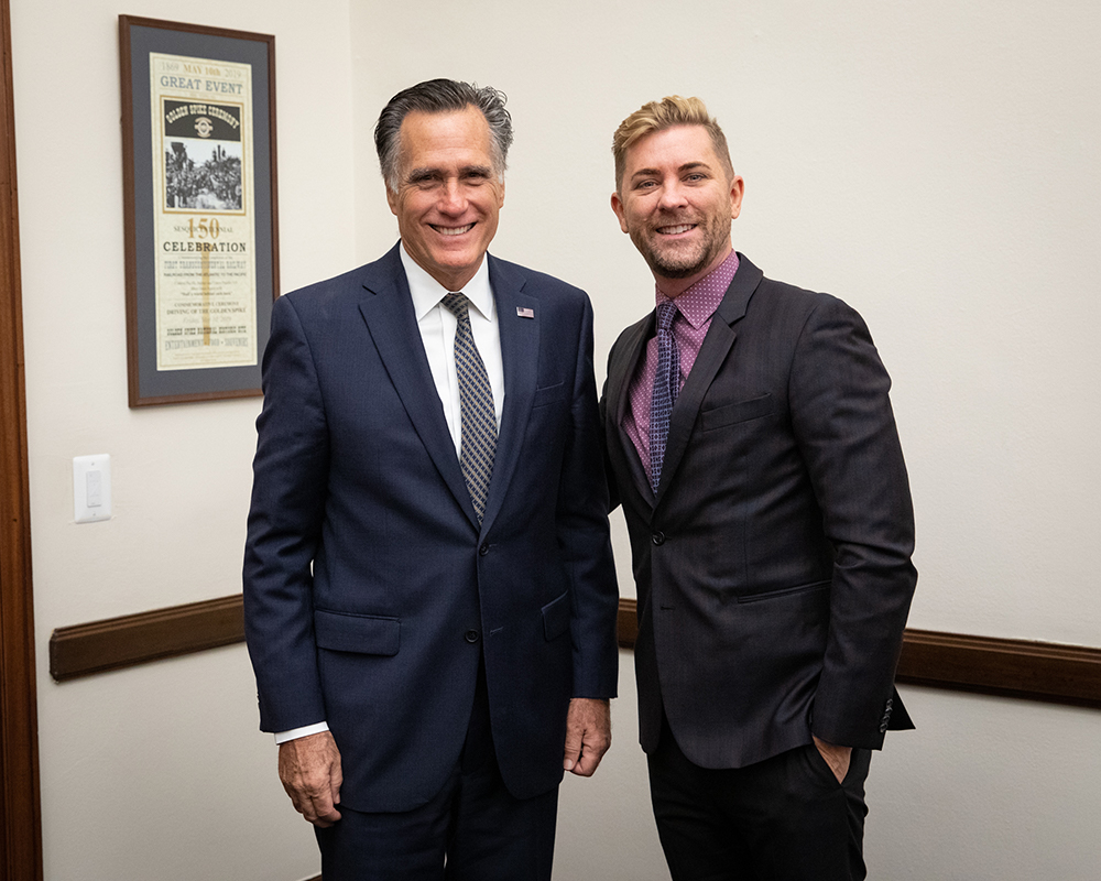 Troy Williams and Senator Mitt Romney meeting in Washington D.C. to discuss Utah LGBTQ rights