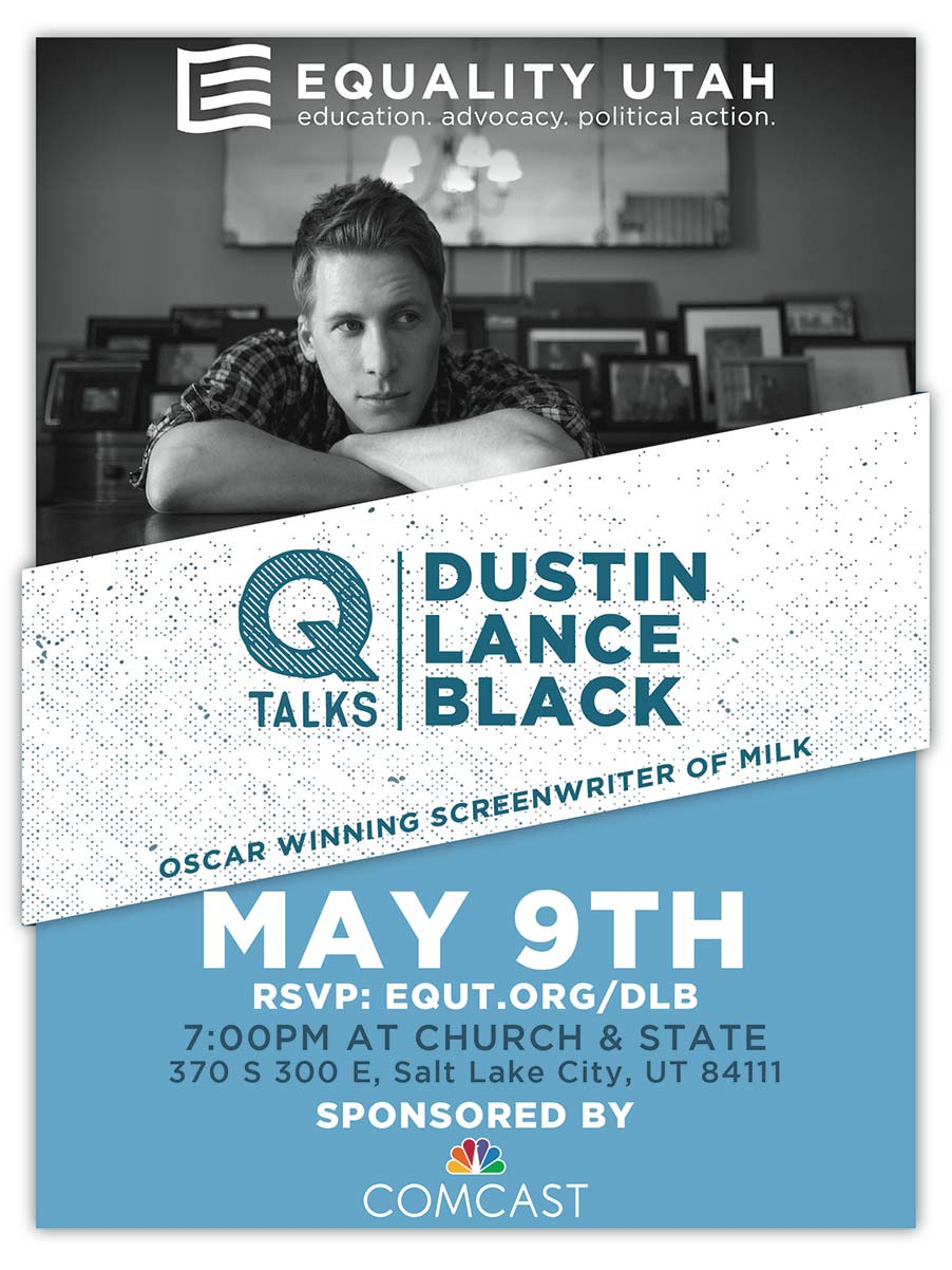 Dustin Lance Black QTalks event poster