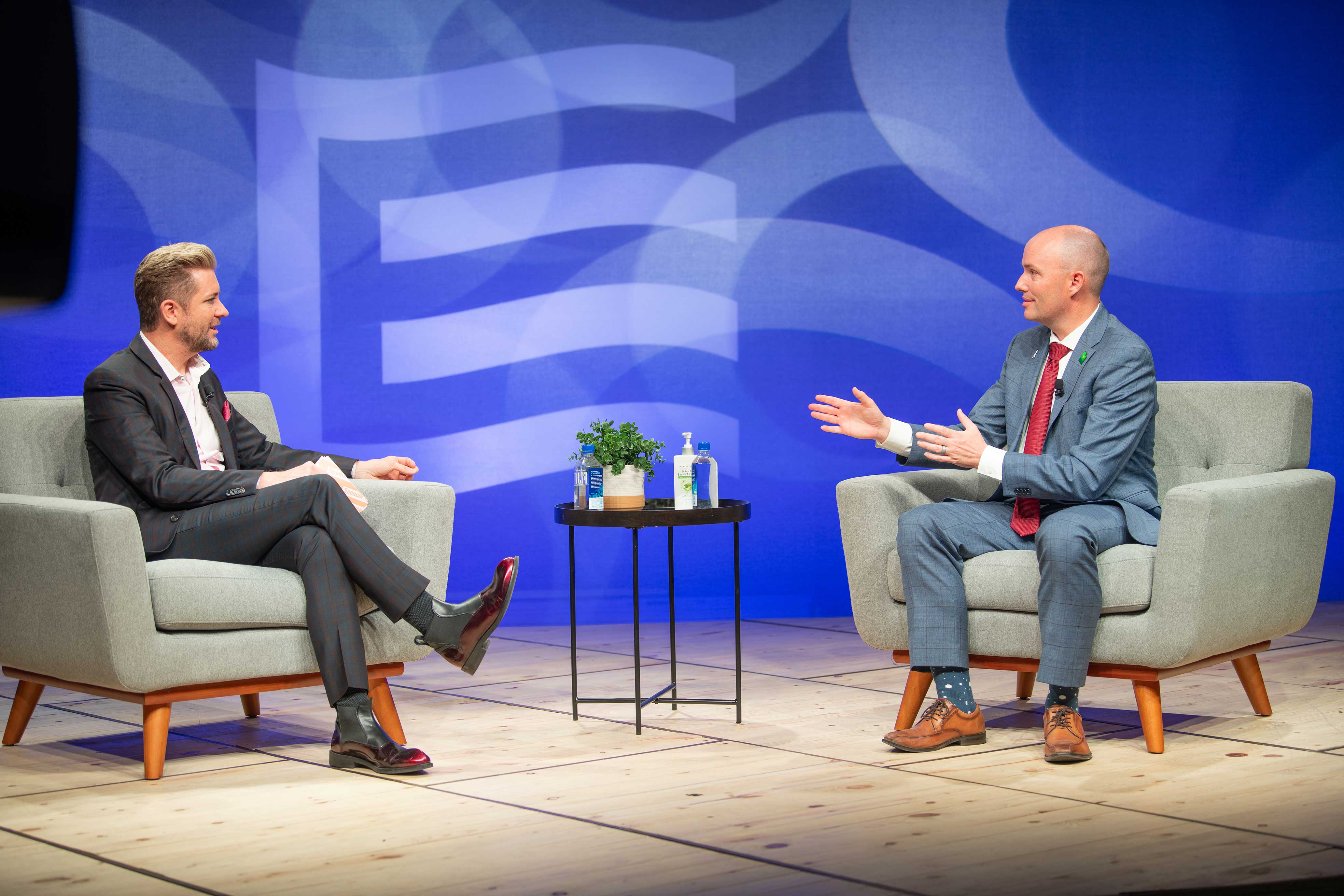 Troy Williams talks with Spencer Cox during the 2020 GOP Equality Forum
