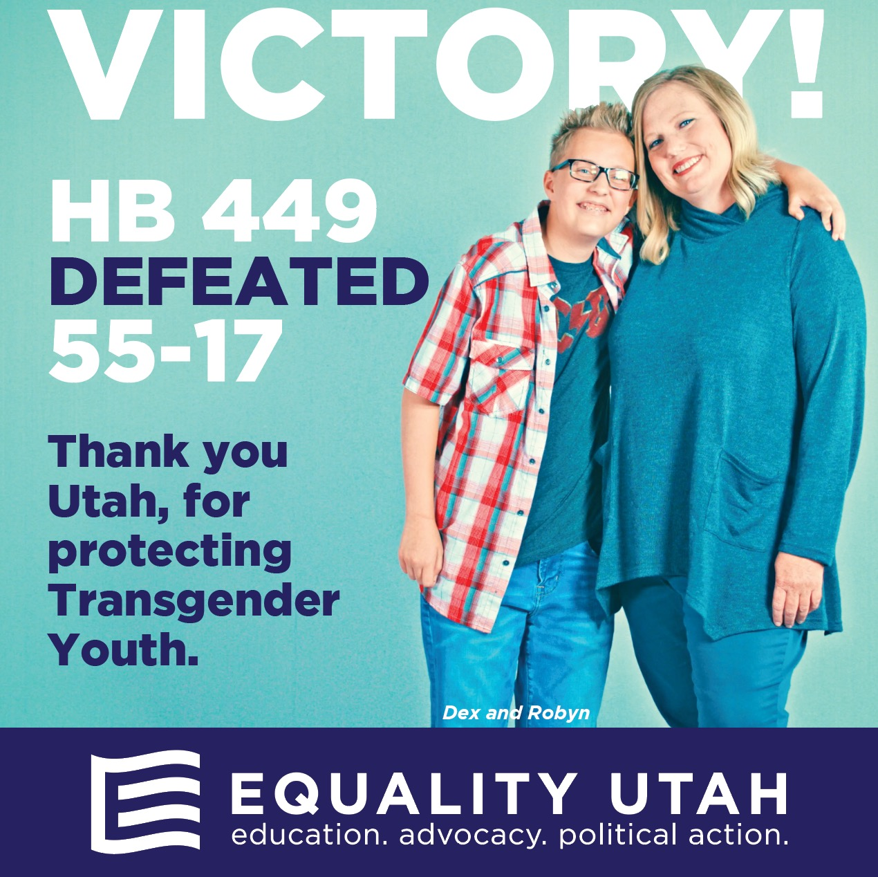 Victory Graphic for the defeat of HB 449, protecting transgender youth