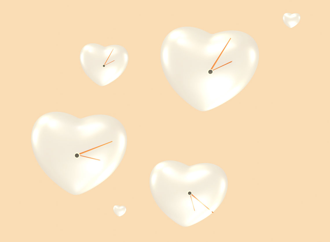Balloons of heart flying around with clock hands
