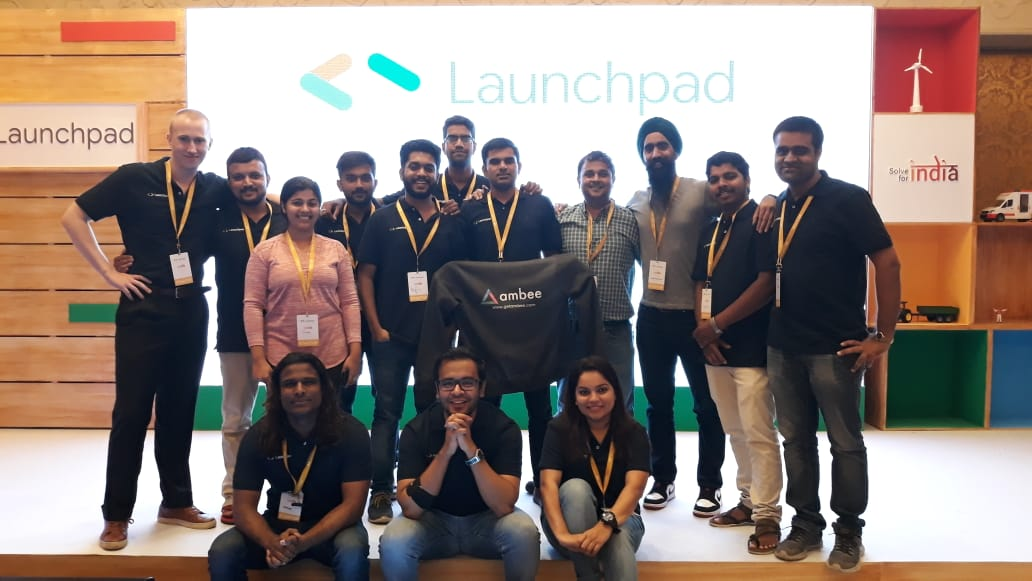 Team Ambee in Launchpad event standing in the stage