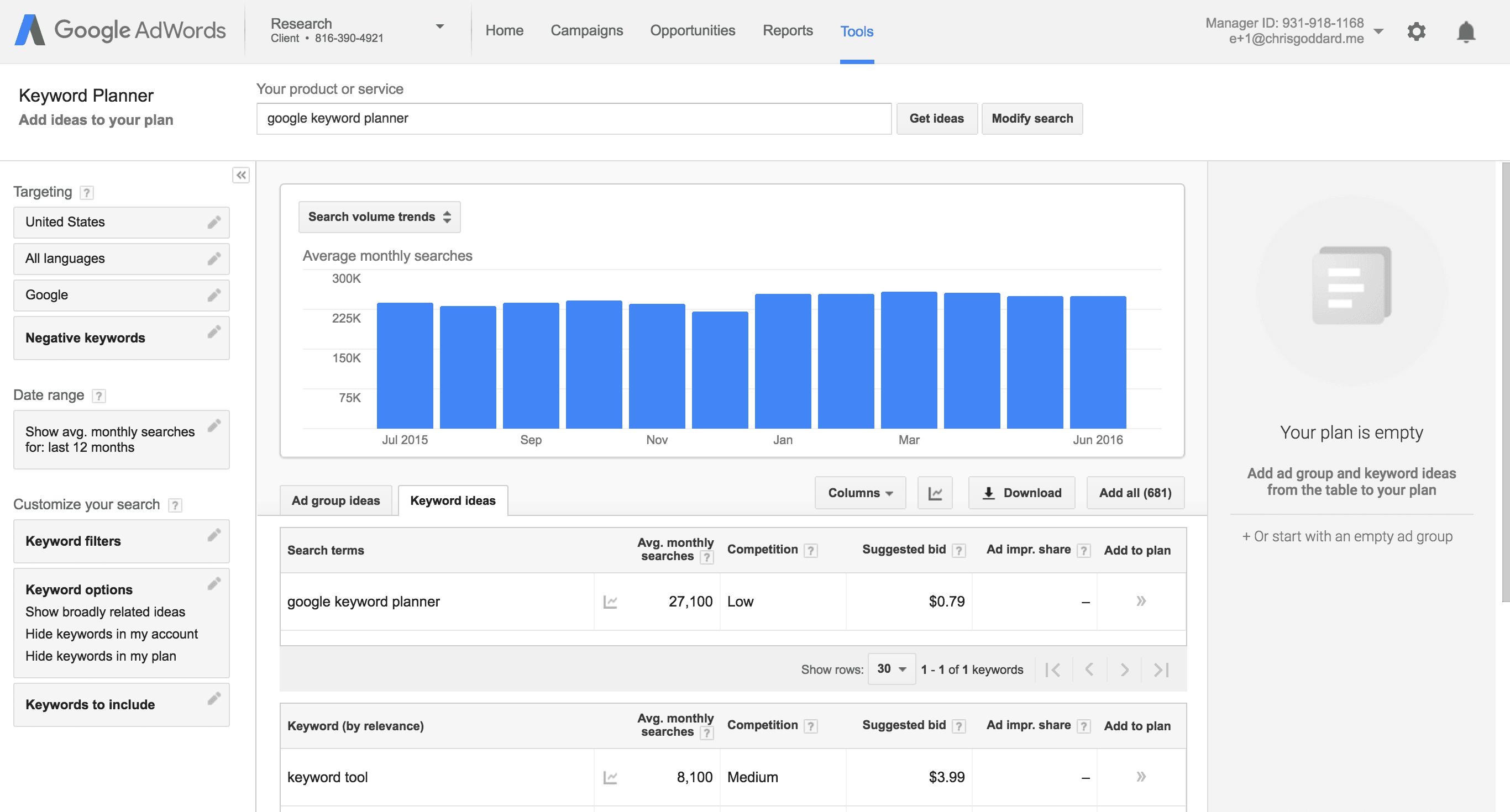 ferramentas de marketing keyword planner dashboard