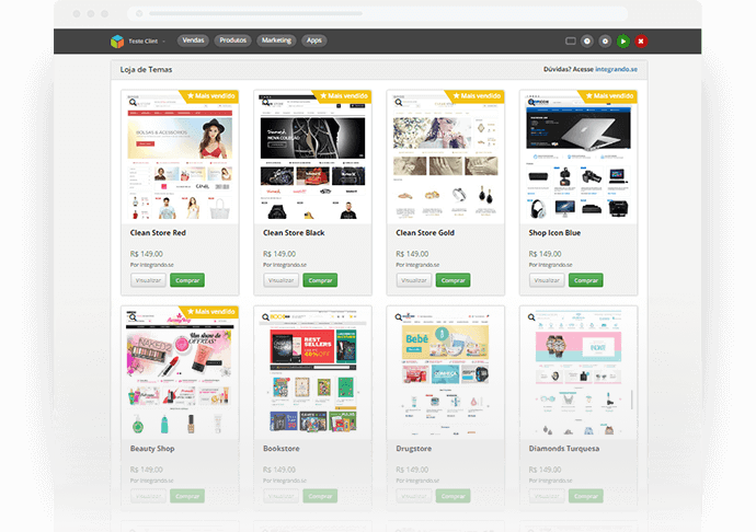 ferramentas de marketing loja integrada dashboard