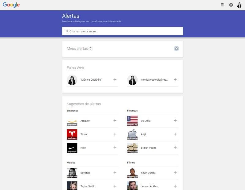 ferramentas de marketing Google-alerts dashboard