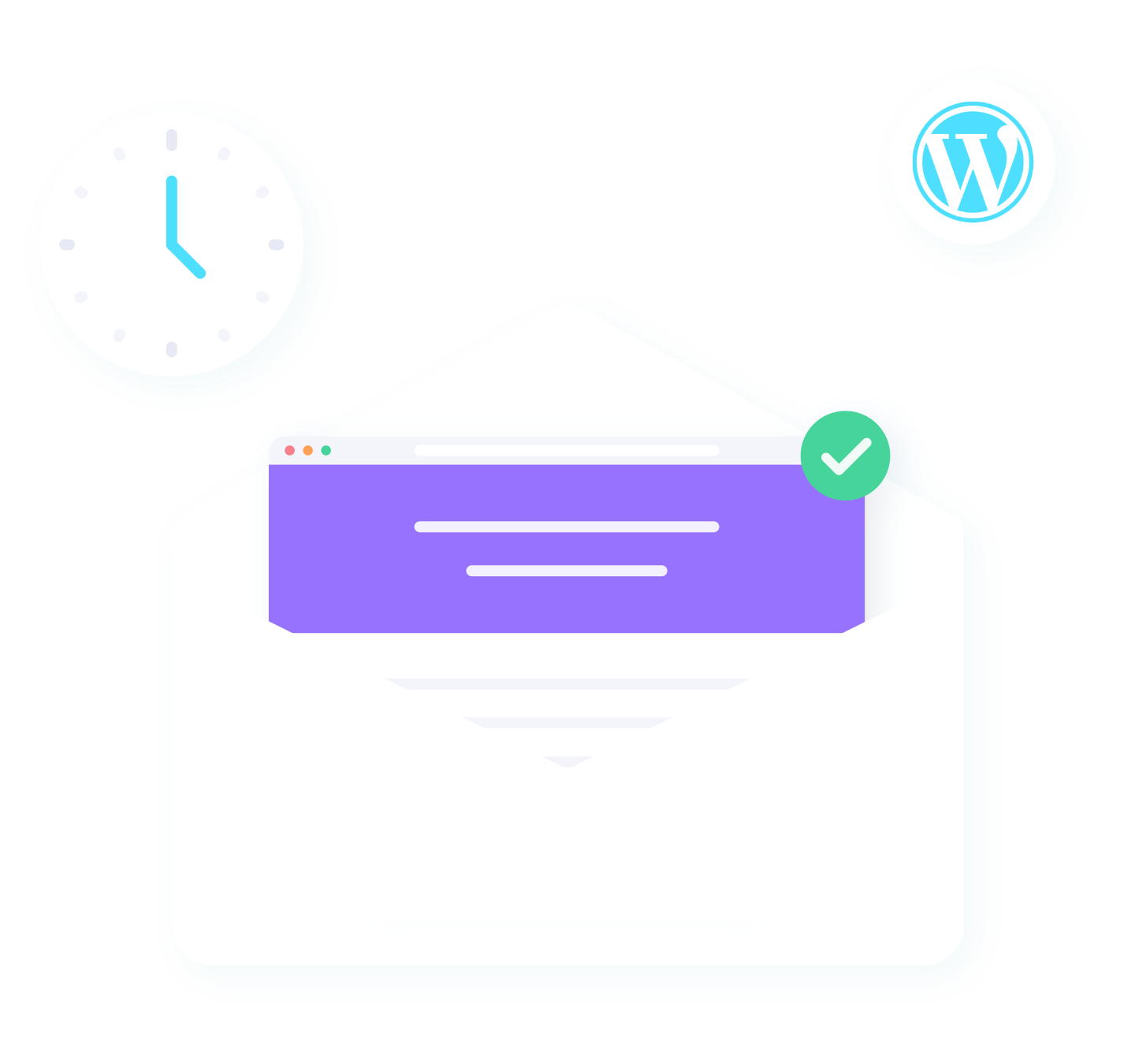 A white clock illustration and envelope illustration with a soft blue background. To the right is a WordPress logo.